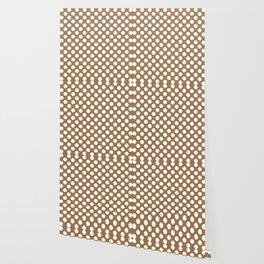 Brown and white polka dots Wallpaper