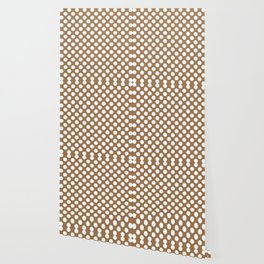 Brown and white polka dots Wallpaper