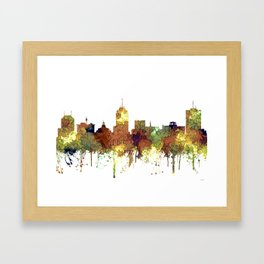 Fresno, California Skyline SG - Safari Buff Framed Art Print