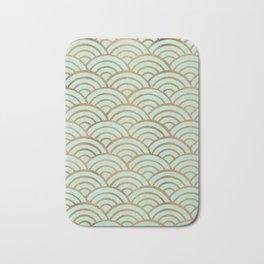 Japanese Seigaiha Wave – Mint & Copper Palette Bath Mat