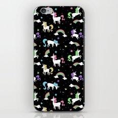 Unicorns and Rainbows - Black iPhone & iPod Skin