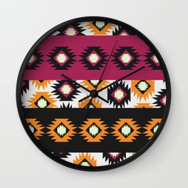 Ethnic shapes in purple and yellow Wall Clock