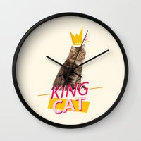 kit king Wall Clocks featuring King Cat by Kit & Cat