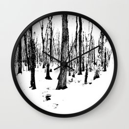 Trees in the Snow (B&W) Wall Clock