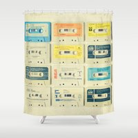 orange Shower Curtains featuring All Tomorrow's Parties by Cassia Beck