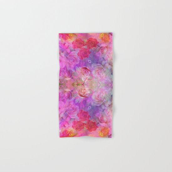 Dream Roses in soft pink, purple and orange Hand & Bath Towel
