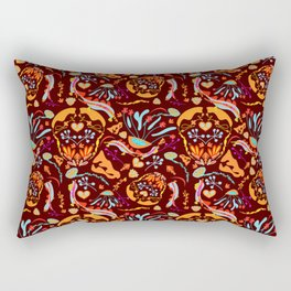 Autumn Flower Design // Retro Inspired for 1970's Lovers // Sumer of Love // Yellow and Blue Florals Rectangular Pillow