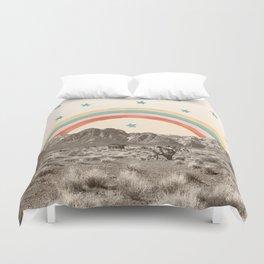 Canyon Desert Rainbow // Sierra Nevada Cactus Mountain Range Whimsical Painted Happy Stars Duvet Cover