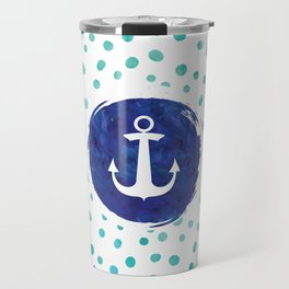 Watercolor Ship's Anchor Travel Mug