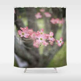 Pink Dogwood Blossoms Shower Curtain