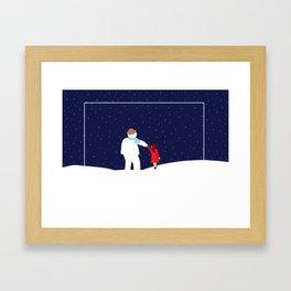 A Walk with Snowman Framed Art Print