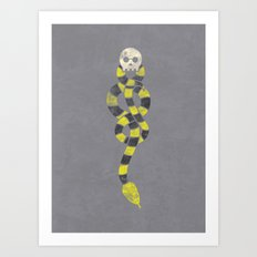 The Scarf Mark - Yellow and Grey Art Print