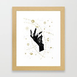 Black witch`s hand with cosmos illustration on white textured ba Framed Art Print