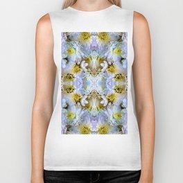 Bue Yellow Pastel Chrysanthemums Design Biker Tank