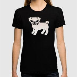 White Pug Dog Cute Cartoon Illustration T-shirt