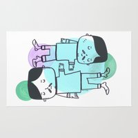 best friends Area & Throw Rugs featuring Best Friends by Silva Ware by Walter Silva