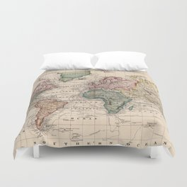 Vintage Map of The World (1833) Duvet Cover