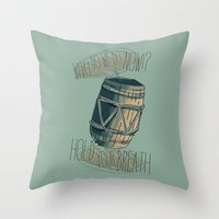 nori Throw Pillows featuring Hold your breath. - Hobbit by KanaHyde