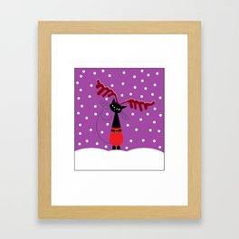 Reindeer Cat Framed Art Print