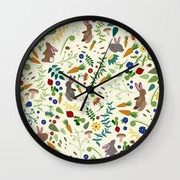 Rabbits In The Garden Wall Clock