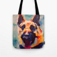german shepherd Tote Bags featuring German Shepherd by Heather Hartley