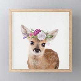 Baby Deer with Flower Crown Framed Mini Art Print