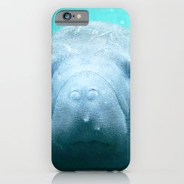 Watercolor Manatee 01, Three Sisters Spring, Crystal River, Florida iPhone Case