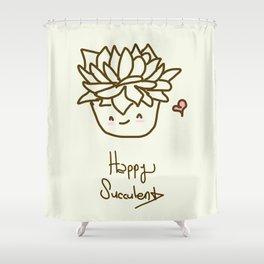 Happy Succulent Shower Curtain