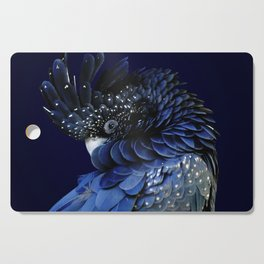 Australian Red-Tailed Black Cockatoo in Blue Cutting Board