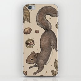 The Squirrel and Chestnuts iPhone Skin