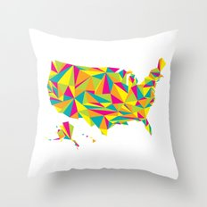 Abstract America Bright Earth Throw Pillow