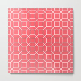 Coral Red Octagon Grid Metal Print