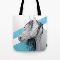 mustang Tote Bags featuring Mustang by Putrizia Pine
