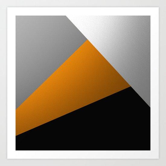 Metallic I - Abstract, geometric, metallic textured gold, silver and black metal effect artwork Art Print