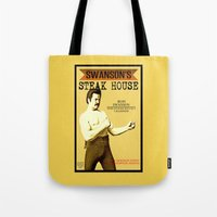 parks and rec Tote Bags featuring Ron Swanson  |  Steak House Parody |  Parks and Recreation by Silvio Ledbetter