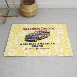 Freedom Crusin' Hawaiian Woody Design Rug