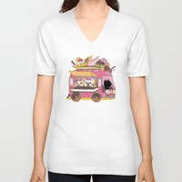 icecream V-neck T-shirts featuring IceCream Truck by ShangheeShin