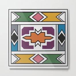 African Tribal Pattern No. 139 Metal Print