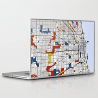 chicago map Laptop & iPad Skins featuring Chicago by Mondrian Maps