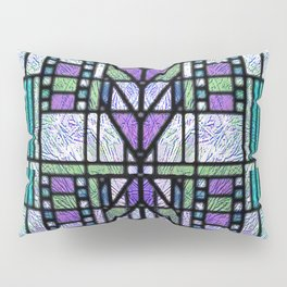 Aqua and Green Art Deco Stained Glass Design Pillow Sham