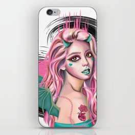 Pastel Devil - Stylized digital portrait iPhone Skin