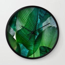 Palm leaf jungle Bali banana palm frond greens Wall Clock