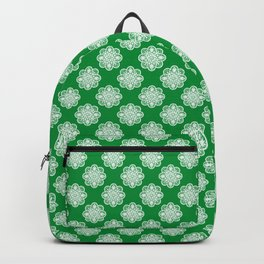 Floral Doily Pattern | Green and White Backpack