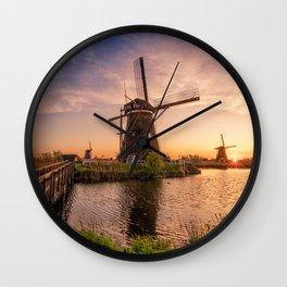 Kinderdijk sunset mill bridge Holland Netherlands Europe beautiful nature Wall Clock