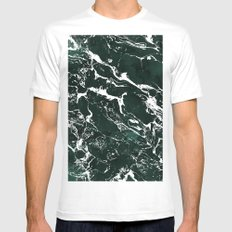Dark green forest watercolor white marble christmas pattern White Mens Fitted Tee MEDIUM