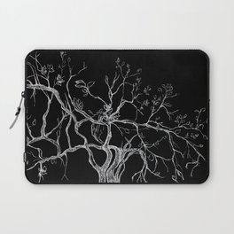 Graphic art, tree leaves, white ink Laptop Sleeve