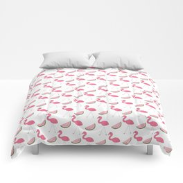 Flamingos and Watermelons Comforters