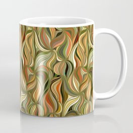 Boho Green & Red Wave Pattern Coffee Mug
