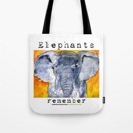 Elephants Remember Tote Bag
