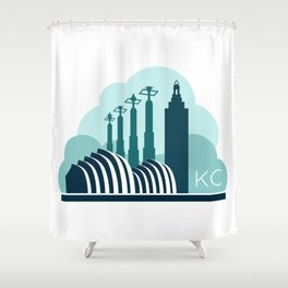 Kansas City in the Clouds - Blue Shower Curtain